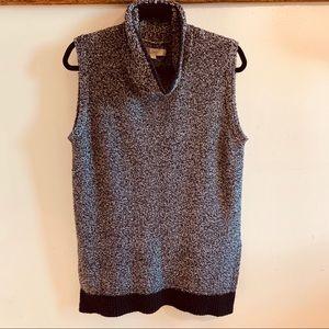 LOFT—Sleeveless Sweater Tunic, Black White (Small)